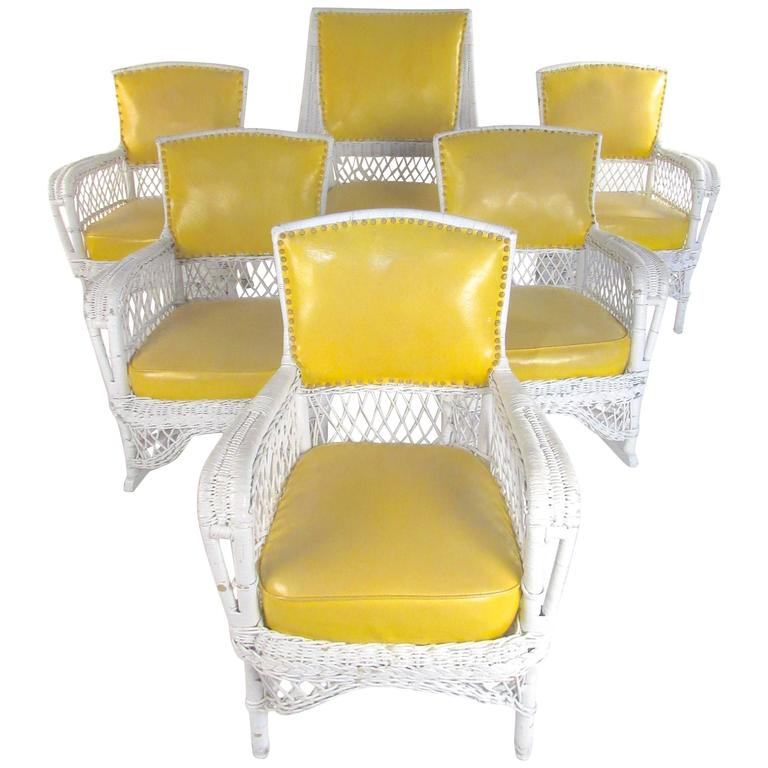 Set of Six Vintage Wicker and Vinyl Chairs, Mid-Century Modern Patio Seating For Sale