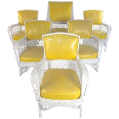 Set of Six Vintage Wicker and Vinyl Chairs, Mid-Century Modern Patio Seating