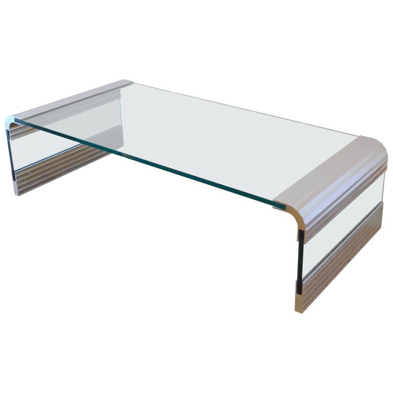 Exceptionnel Large Chrome U0026 Glass Leon Rosen Pace Collection Waterfall Cocktail Table  1970u0027s