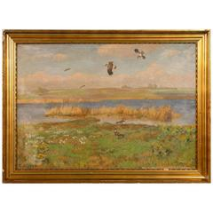 Vintage Painting of Shore Birds in a Marsh, Signed C. Hoyrup, circa 1920