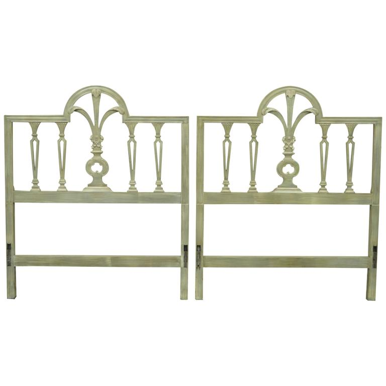 Pair of Prince of Wales Plume Feather Carved Wood Single Twin Bed Headboards For Sale