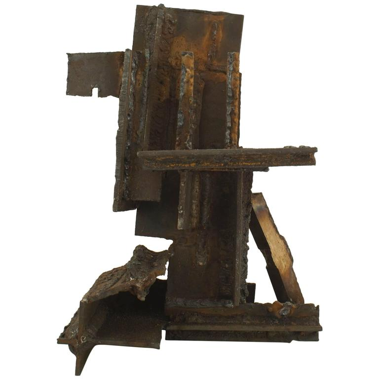 American Brutalist Style Burnt Welded Steel Sculpture