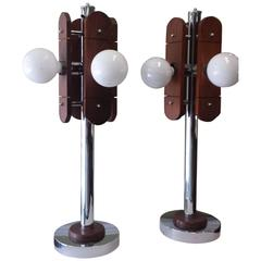 Mid-Century Chrome and Oak Table Lamps, circa 1960s-1970s