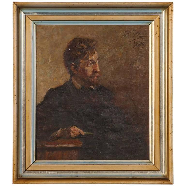 Antique Oil on Canvas Portrait of a Danish Gentleman, circa 1909 For Sale