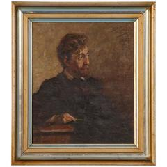 Antique Oil on Canvas Portrait of a Danish Gentleman, circa 1909