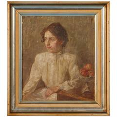 Small Antique Portrait of a Danish Woman, circa 1909