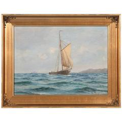 Vintage Marine Painting of a Small Sailboat, Signed Fr. Landt, Dated 1916