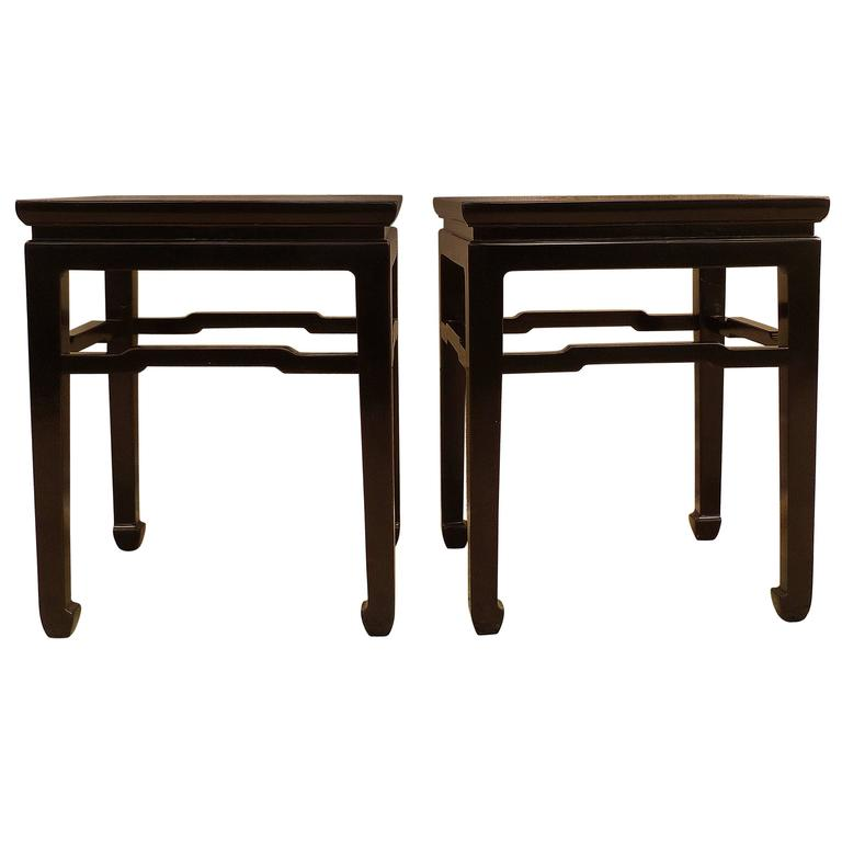 Fine Pair of Black Lacquer End Tables For Sale