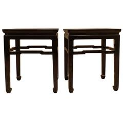 Fine Pair of Black Lacquer End Tables