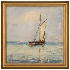 Antique Danish Marine Painting of a Sailboat Signed Fr. Landt, circa 1949