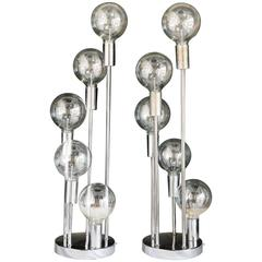 1970s Spiraling Chrome Table Lamps Attributed to J. T. Kalmar