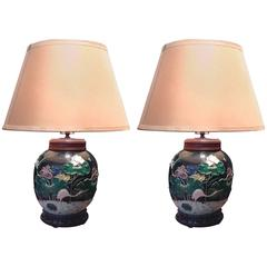 Rare Pair of 19th Century Chinese Porcelain Lotus Blossom Lamps