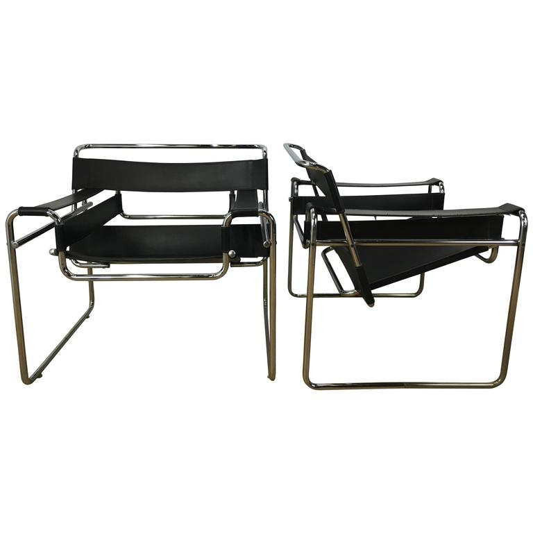 Pair of Leather and Chrome Wassily Chairs