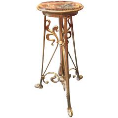 Art Nouveau French Brass Gueridon 19th Century Stand
