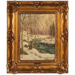Antique Painting of a Swedish Winter Landscape, Signed Jens Ch Bennedsen