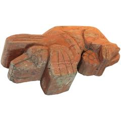 1920s Folk Art Carved Life Sized Resting Dog Sculpture