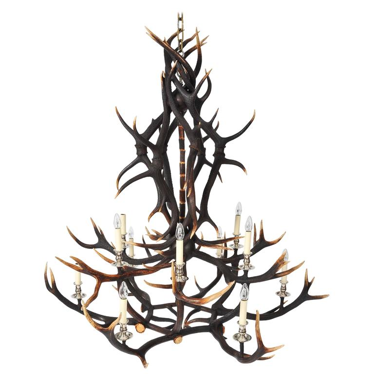 Custom-Made Two-Tier Antler Chandelier For Sale