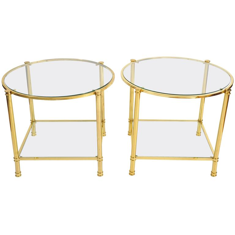 Pair of French, 1960s Glass and Brass Side Tables For Sale