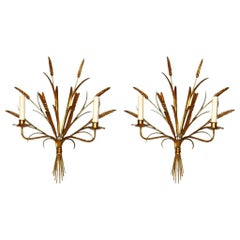 Pair of Wheat Gilt Metal Sconces