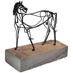 Modernist Welded Horse Sculpture In The Style of Fantoni