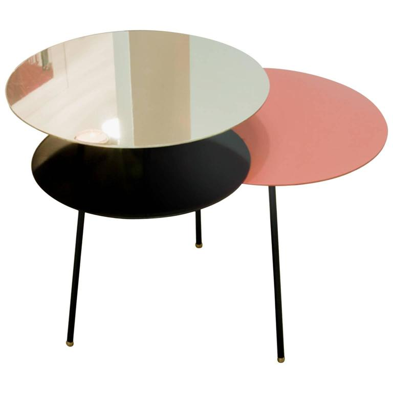 Three-Level Steel Brass Powder Coated Side Table