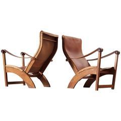Mogens Voltelen Pair of Copenhagen Chairs in Cognac Leather