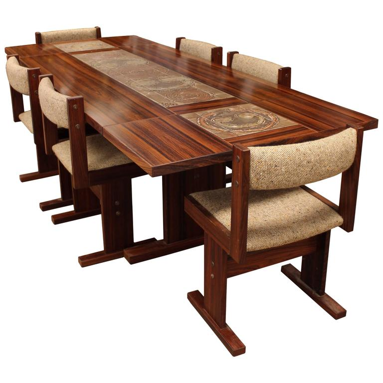 Danish Modern Rosewood Ox Art Dining Room Set With Six Chairs And Two Leaves