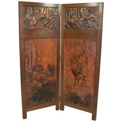 Pressed Leather and Copper Screen/Divider