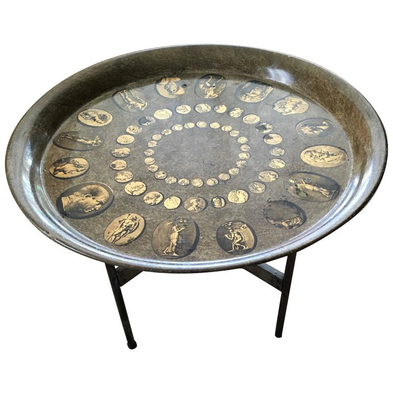 Rare Vintage Fornasetti Tray Table On Stand For Sale
