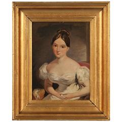Antique Oil Painting, Portrait of a Young Woman in a White Dress, circa 1850