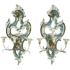 Fabulous Large Pair of 1920s French Rococo Painted Wall Sconces