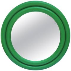 Large 1970s Emerald Lacquered Linen Round Mirror