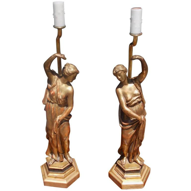 Pair of English Gilt Carved Wood Figural Statues Converted to Lamps, Circa 1780