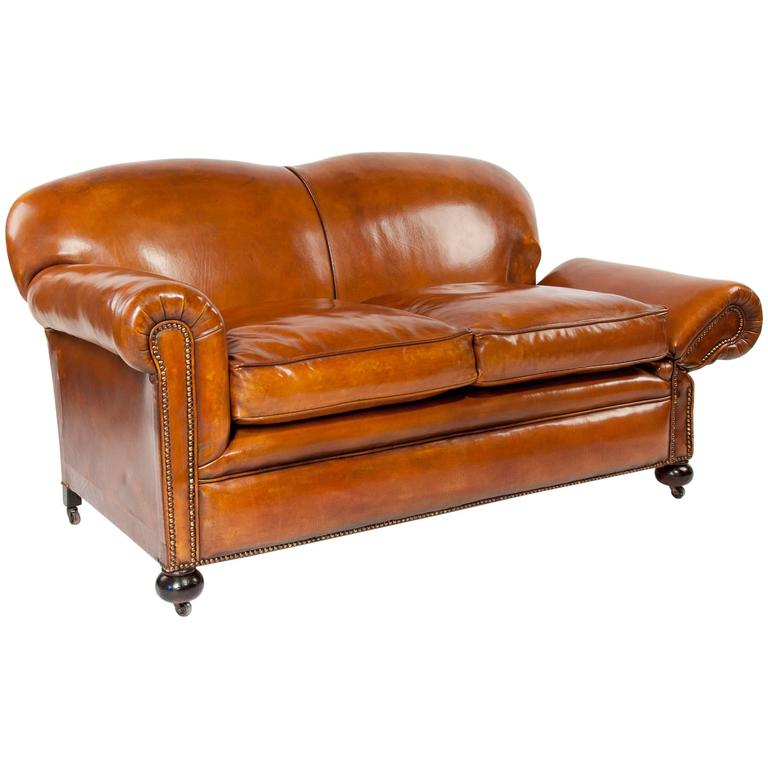 Quality Sofas For Sale: Quality Edwardian Drop Arm Tan Leather Sofa At 1stdibs