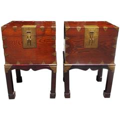 Pair of Chinese Brass-Mounted Document Boxes on Stand, Circa 1870