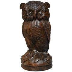Superb Late 19th Century Finely Carved Black Forest Owl Storage Jar