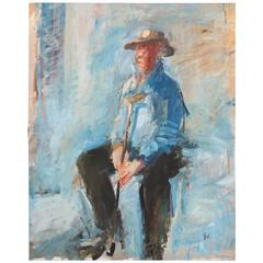 Signed Contemporary Swedish Painting of a Sitting Man in Blue, Dated 1991