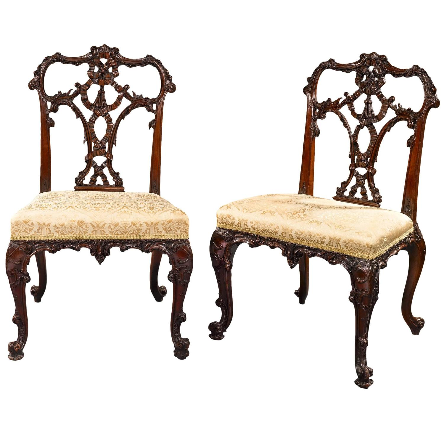 19th Century Chippendale Style Mahogany Dining Side Chairs