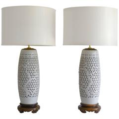 Pair of Hollywood Regency Pierced Porcelain Blanc de Chine Table Lamps