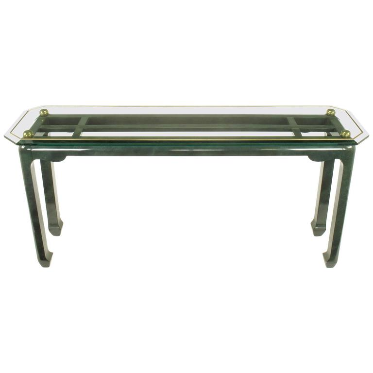 Heathered Green Ming Style Console Table With Beveled Gl Atop Br Spheres For