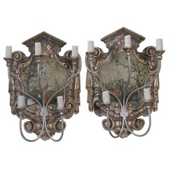 Pair of Hand-Painted Chinoiserie Five-Light Sconces