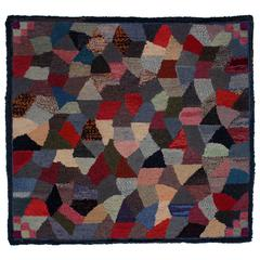 Abstract and Graphic Hooked Rug, Early 20th Century American
