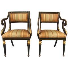 Fine Pair of Regency Painted Armchairs