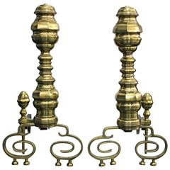 Pair of Exceptional Decorative Andirons in Polished Brass