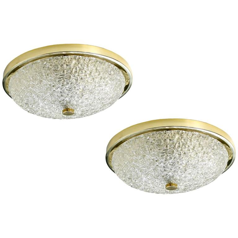 Pair of 1970s Brass and Glass Flush Mount Ceiling or Wall Lamps, Mid-Century