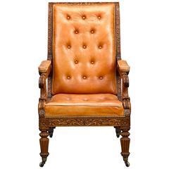 19th Century Padauk Wood Reclining Armchair