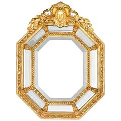 Louis XVI-Stye French Giltwood Cushion Mirror