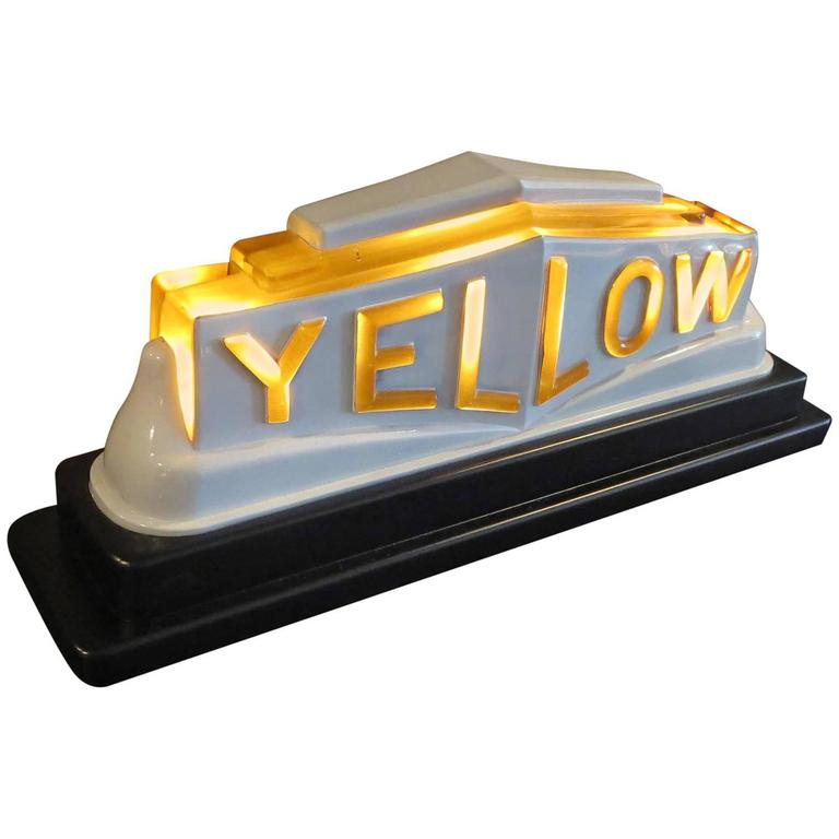 Art Deco Yellow Cab Glass Lighted Taxi Roof Sign