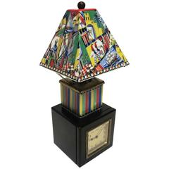 German Art Deco Petite Table Lamp and Clock