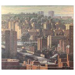"Large Daniel Hauben Painting NYC Bronx Manhattan ""Bend in Tracks"""